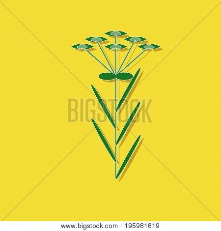 paper sticker on stylish background of plant Euphorbia