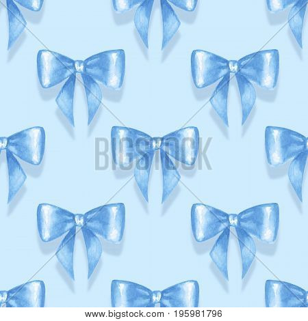 Seamless pattern with blue watercolor bow