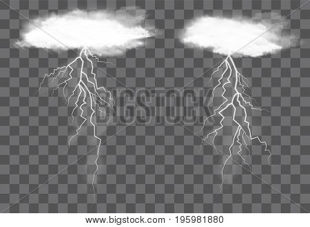 Real transparent cloud and  lightning thunder vector