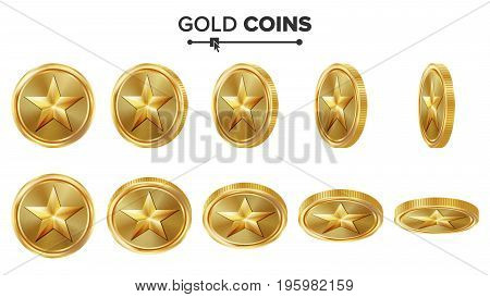 Game 3D Gold Coin Vector With Star. Flip Different Angles. Achievement Coin Icons, Sign, Success, Winner, Bonus, Cash Symbol. Illustration Isolated On White