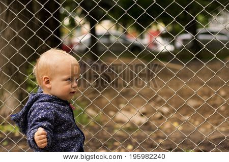 Portrait of cute toddler against of the lattice. Concept of freedom.