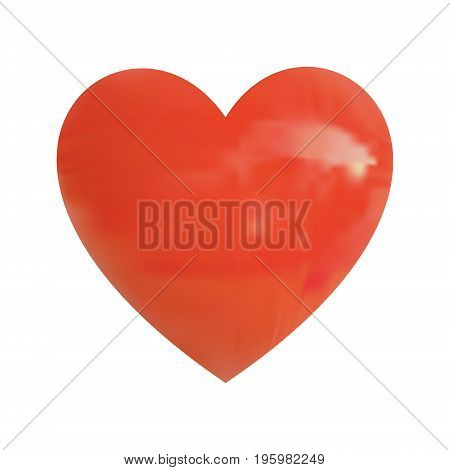 Realistic VECTOR glossy red heart isolated on white background