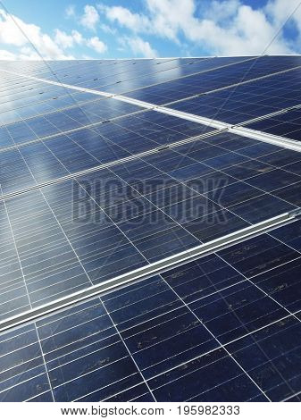 Blue solar panels in a row generating green energy with blue sky
