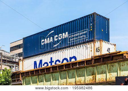 Washington Dc, Usa - July 3, 2017: Cma Cgm Matson Eco Bamboo Cargo Shipping Container On Train