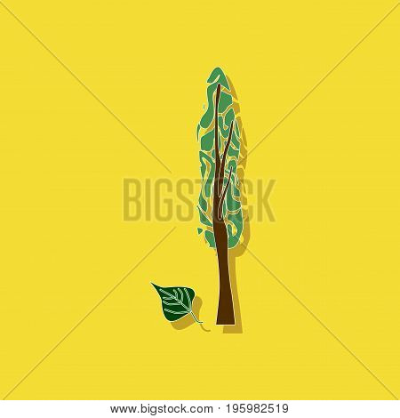 paper sticker on stylish background of plant Populus