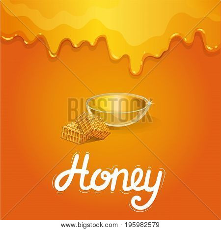 Organic honey banner in cartoon style. Glass bowl with honey and honeycomb on orange background. Natural product advertising, traditional and healthy vegan food, sweet delicacy vector illustration.