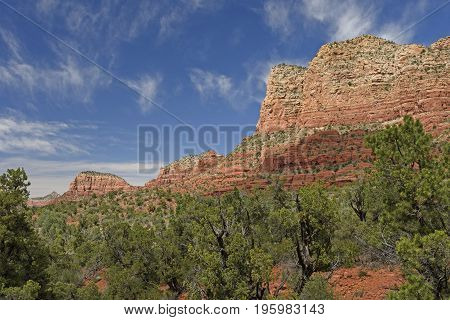 Red Rock Bluffs Among the Trees near Sedona Arizona
