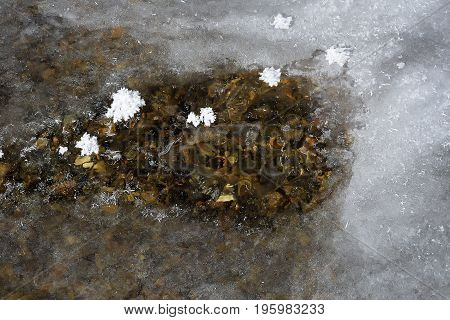 Ice on frozen river in winter.                          Save  Download Preview     frozen countryside scene in winter with snow. iced river with blocks of ice
