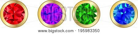 Set of precious stones on a white background sapphire, mineral, collection, sparkle