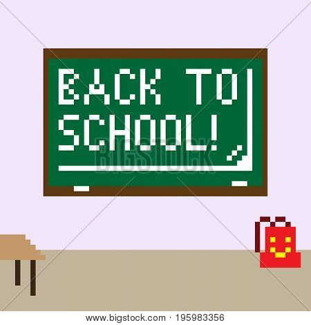 Pixel image of the classroom for the holiday of knowledge on September 1. The green chalkboard shows the inscription Back to school!
