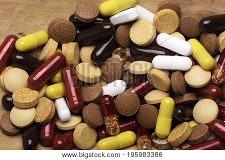 Pills. Pharmacy prescription, rx Pharmacy, pill bottle on counter in pharmacy, drug prescription theme, Pharmaceutical medicament on pharmacy table