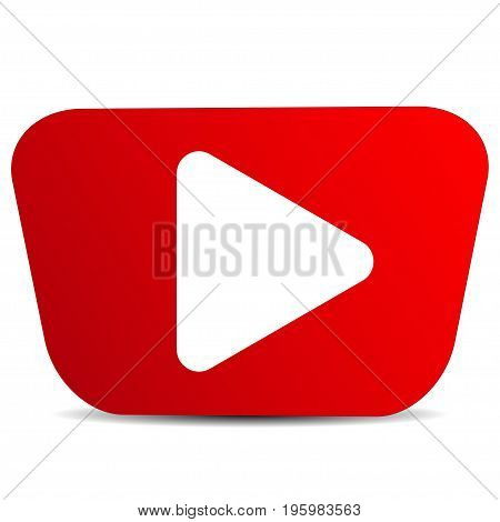 Play red icon on a white background