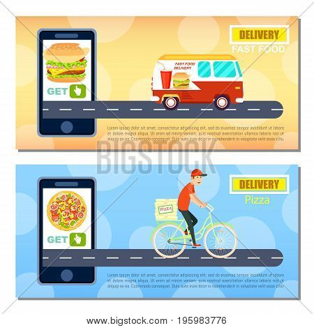 Fast food and pizza delivery flyers. Express delivery poster with delivery van and courier man on bicycle, smartphone screen with restaurant menu. Online order food on mobile app vector illustration