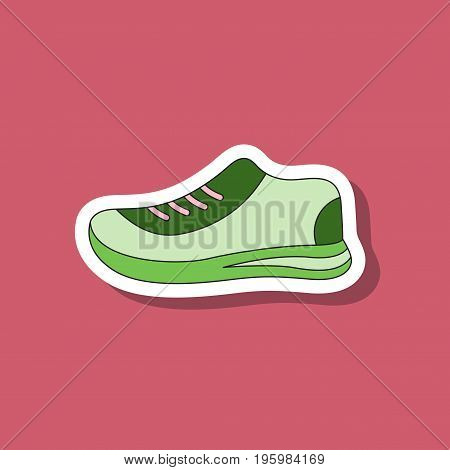 paper sticker on stylish background sports shoes