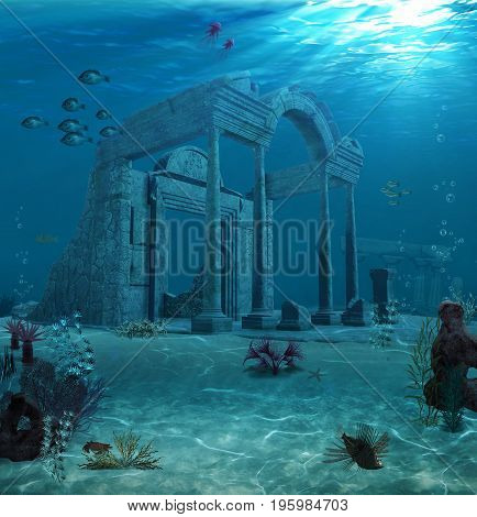 3d illustration of the sunken ruins of an ancient Atlantis type civilization.