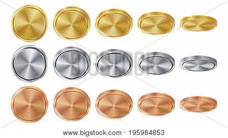 Empty 3D Gold, Silver, Bronze Coins Vector Blank Set. Realistic Template. Flip Different Angles. Investment, Web, Game App Interface Concept. Coin Icon, Sign, Banking Cash Symbol