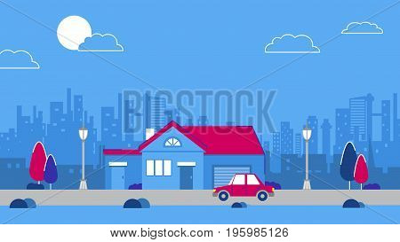 An olg vintage house on the city sky scrapers background. Red retro style car. Blue and red color schemes