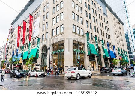 Montreal Canada - May 26 2017: La Maison Simons fashion retailer store in downtown area in Quebec region