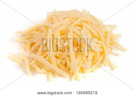 Heap of grated cheese isolated on white background.