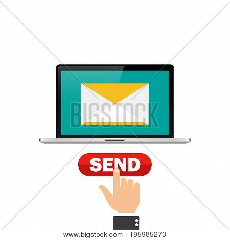 Laptop send message. The hand presses the send message