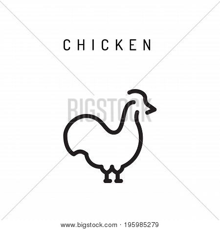 Chicken outline icon for web, mobile and infographics. Chicken logo isolated on white background.