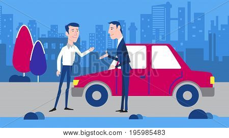 Two men greet each other Vector characters. Neighbors or friends. Street background. Red retro car