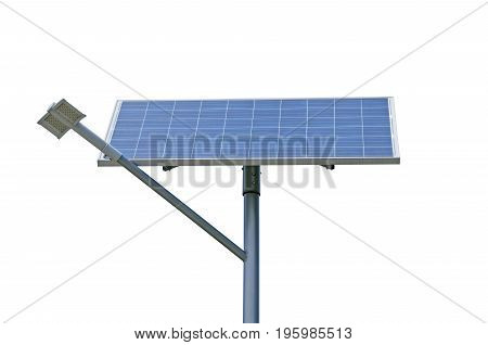 Solar battery generating electricity for street lights isolated on a white background