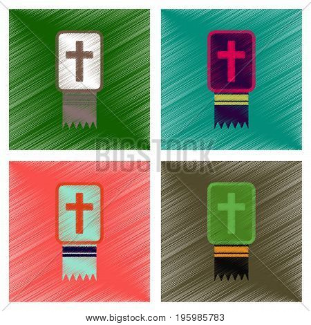 assembly flat shading style icons of Bible book