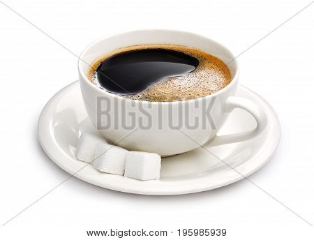 Cup of black coffee and sugar cubes isolated on white background