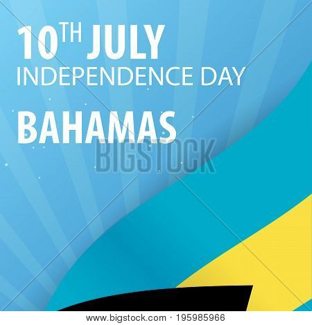 Independence Day Of The Bahamas. Flag And Patriotic Banner. Vector Illustration.