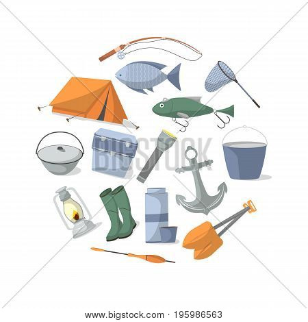 Fishing banner with fisher equipment icons. Tourist tent, anchor, fishhook, float, fishing rod, paddle, thermos, flashlight, rubber boots, camp boiler, cooler box vector illustration in flat style.
