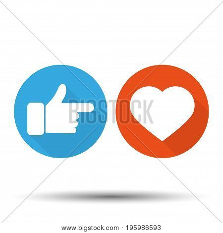 Thumbs up and hearts on a white background