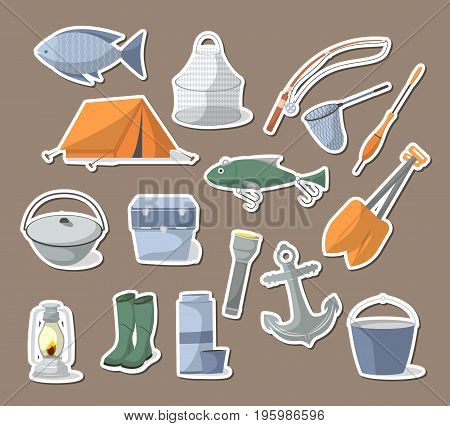 Fishing icons set in flat style. Tourist tent, anchor, fishhook, float, fishing rod, paddle, thermos, flashlight, rubber boots, camp boiler, cooler box. Fisher equipment isolated vector illustration
