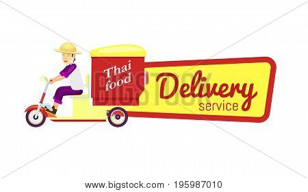 Thai fast food delivery isolated sticker. Online order food on home, commercial shipping advertising vector illustration. Restaurant food express delivery service label with courier man on scooter