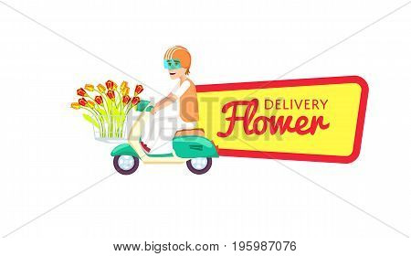 Flower delivery isolated sticker. Online order goods on home, commercial shipping advertising, botany business vector illustration. Express delivery service label with courier man on scooter.