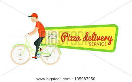 Italian pizza food delivery sticker. Online order food on home, commercial shipping advertising vector illustration. Restaurant food express delivery service label with courier man on bicycle