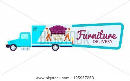 Furniture delivery isolated sticker in cartoon style. Commercial shipping advertising, transportation company badge with freight truck, relocation service, express delivery vector illustration.