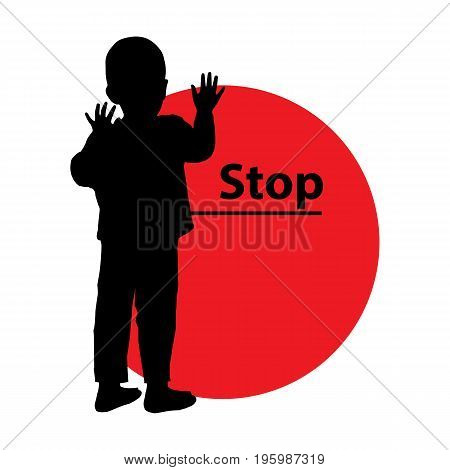 Stop Violence Children. Logo. Illustration