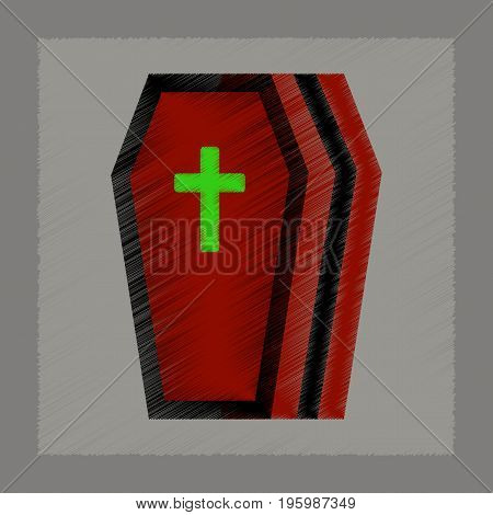 flat shading style icon of halloween coffin