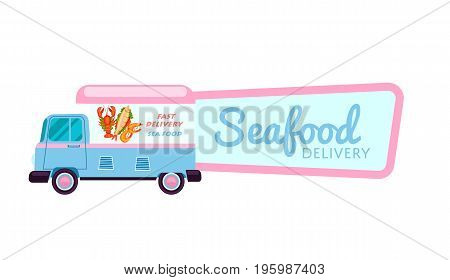 Fresh seafood delivery isolated sticker. Online order food on home, product shipping advertising vector illustration. Restaurant food express delivery service label with commercial van