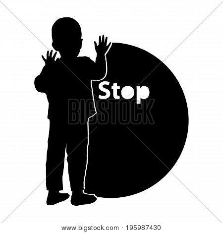 Stop Gently Children Violence. Logo. Illustration