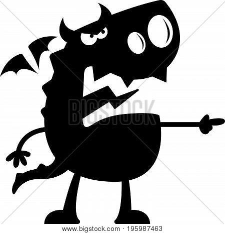 Cartoon Dragon Silhouette Angry