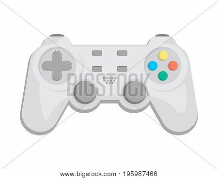 Modern gamepad icon in cartoon style. Game gadget, cybersport digital device, control console for video game isolated vector illustration.