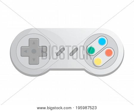 Modern wireless joystick icon in cartoon style. Game gadget, cybersport digital device, control console for video game isolated vector illustration.