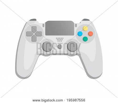 Control console for video game icon in cartoon style. Game gadget, cybersport digital device, wireless gamepad or joypad isolated vector illustration.