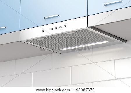 Modern cooker hood in the kitchen, 3D illustration