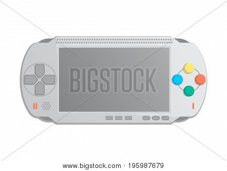 Mobile game console icon in cartoon style. Game gadget, cybersport digital device, keypad console, video game isolated vector illustration.