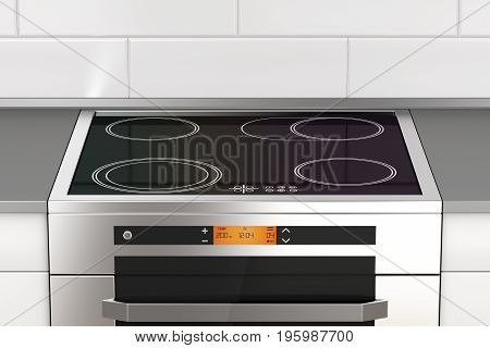 Modern electric stove with induction cooktop in the kitchen, 3D illustration