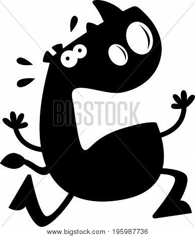 Cartoon Rhino Silhouette Afraid
