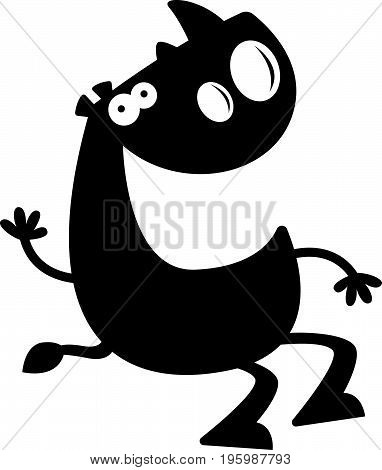 Cartoon Rhino Silhouette Sitting
